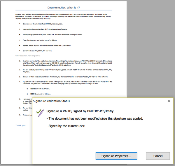 Create digitally signed PDF in C# and VB NET