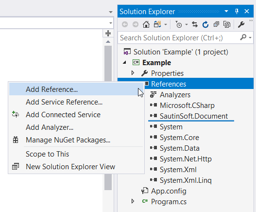 Add reference to SautinSoft.Document.dll.