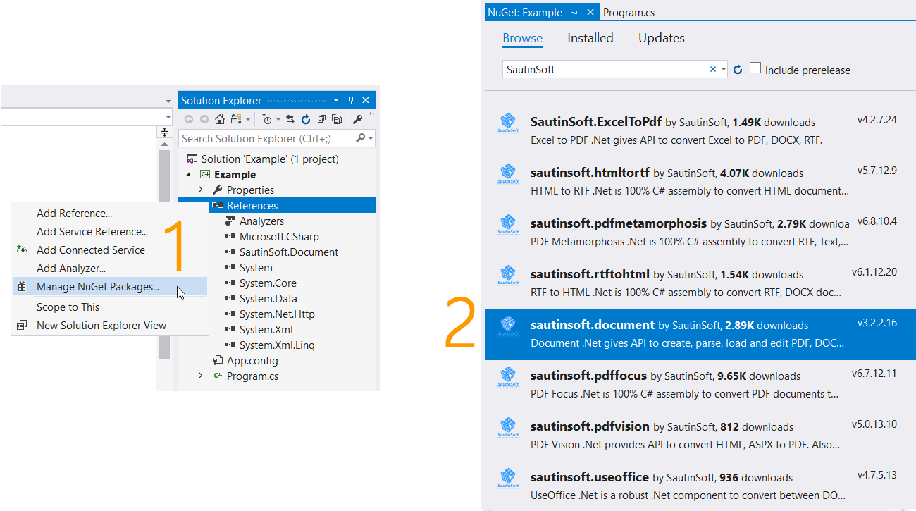 Add SautinSoft.Document.dll via Nuget.