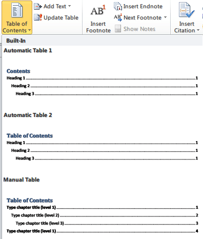 How to create Table of Contents (TOC) in a Word document