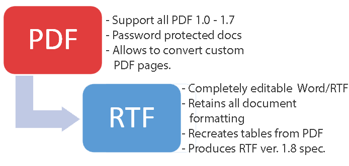 Convert PDF to Word, RTF in C#, VB Net and ASP Net